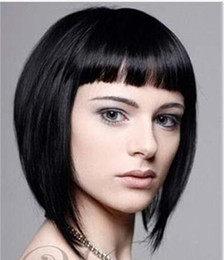 Discount wigs human hair short style - Youthful Short Straight Cute Bob Style Lace Wigs with Bangs Natural Black Color Human Hair Wigs Julienchina Bella Hair