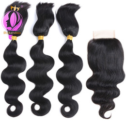 Wholesale brazilian braiding hair online shopping - Doheroine Braid In Human Hair Bundles Body Wave Straight Human Hair Bundles With Lace Closure Brazilian Virgin Hair Extension
