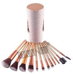 Wholesale 10pcs Woman maange Makeup Brushes 12 PCS Cosmetic Set Eyeshadow Blusher Brush kit Black Holder Case Make up Brush Maquiagem 10Sets