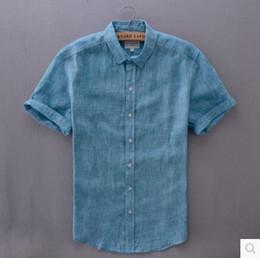 Leisure Shirt Free Shipping Australia - Wholesale-M-XXL 2016 new men short-sleeved linen shirt Free shipping men's thin stylish self-cultivation lapel Leisure cotton shirt