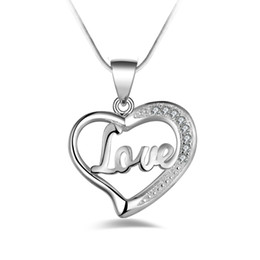 Wholesale fashion high quality silver Love Heart with diamond jewelry silver necklace Valentine s Day holiday gifts Hot