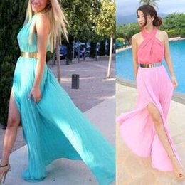 Long Halter Empire Robe De Bal Pas Cher-Femmes Sexy Criss-Cross Halter Chiffon Split Maxi Robes Ladies Solid Casual Runway Casual Party Evening Prom Long Dress Femme vêtements