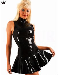 Plus Size Pole Dancing Canada - Plus Size S-XXL Top Quality Lady Sexy PVC Leather Latex Dress Sleeveless With Zipper Bodycon Catsuit Bondage Clubwear Pole Dance Costume
