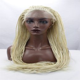 2018 synthetic afro hair braid lace front wigs Africa american braided lace wig heat resistant synthetic frontal hair long micro braided wigs for black women blond hair discount synthetic afro hair braid