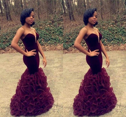 Discount art naturals - 2017 Burgundy Mermaid Prom Dresses with Sweetheart Off Shoulder Prom Gowns Ruffles Skirt Backless Long Evening Dresses F