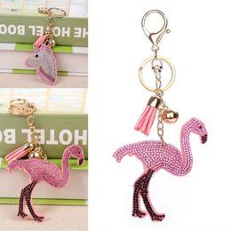 Crystal Heads Australia - Popular Crystal Flamingo Unicorn Head Keychain Golden Chain Keychain Bag Car Hanging Pendant Jewelry Flamingo Key Chains D322Q