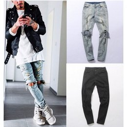 Capris Apenados Baratos-Harajuku Ripped Jeans Mens Cotton Jeans Men's Knee Hole Side Slim Ripped Distressed Skinny Denim Pants