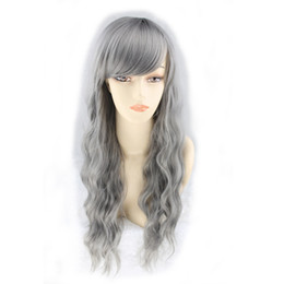 curly bang wig NZ - WoodFestival Grandmother grey wig long synthetic fiber wig women kinky curly wigs bangs natural cheap hair wigs wavy 70cm 28 inch
