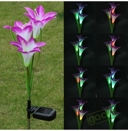 $enCountryForm.capitalKeyWord Canada - Purple LED Solar Power Lily Flower Garden Stake Light Color Changing Outdoor Garden Path Yard Decoration 3 LED Flower Party Lamp, dandys