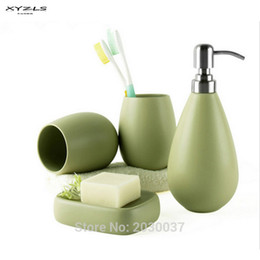 2018 Brass Bathroom Accessories Sets Xyzls 4pc Ceramic Matte Solid Color  Soap Dish Dispenser Shampoo Bottle