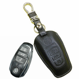 Volkswagen Car Key Covers Canada - 2015 New leather car key fob cover holder for volkswagen vw Touareg 2013 2014 car Key leather case wallets keychain ring remote accessories