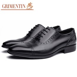 Leather Shoes Sale NZ - GRIMENTIN Hot Sale Mens Dress Shoes Italian Fashion Designer Men Oxford Shoes Genuine Leather Formal Wedding Business Wedding Male Shoes