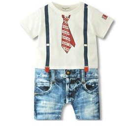 $enCountryForm.capitalKeyWord NZ - Hot summer style newborn baby rompers boys clothes Tie strap short sleeves cotton overalls pattern jumpsuit Free Shipping