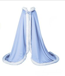 Navy blue weddiNg cape online shopping - White Ivory Red Long Bridal Wraps with Hooded Colorful Satin Women s Winter Capes Faux Fur Wedding Cloaks Party Dress Accessories