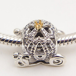 $enCountryForm.capitalKeyWord Australia - New 100% S925 Sterling Silver & 14k Real Gold Cinderella's Pumpkin Car Charm Bead with Cz Fits European Pandora Jewelry Bracelets