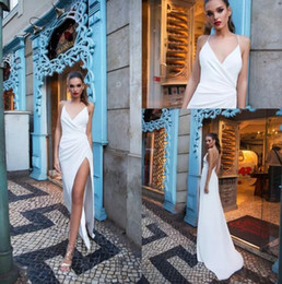 Barato Fadas De Vestido Branco Sexy-Elegant White Sheath Prom Dresses 2018 Sexy Hater V Neck Thigh-High Slits Backless Vestidos de noite Formal Party Wear Cheap