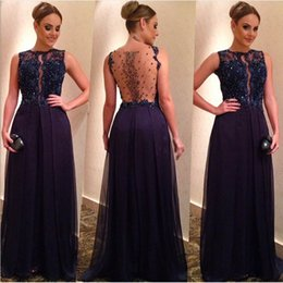 Voir À Travers La Mariée Sexy Pas Cher-Elegeant Dark Navy LOng EVENing Robes Perles Cristal Dentelle Applique See-Through Fille Robe Formal Vestido Prom Party Robes Chiffon SHJ