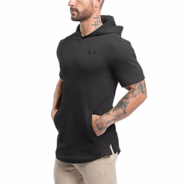 Chinese  Wholesale- Men Short Sleeve Hoodies Sweatshirt Gyms Bodybuilding Tops Casual Hoody Jacket Outwear Sporting Cotton Hoodies manufacturers