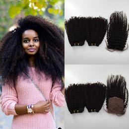 7a grade peruvian curly hair 2019 - 7A grade 3pcs lot Peruvian Human Hair Kinky Curly Silk Closure with 2Pcs Hair Bundle 100% Remy Human hair with Shipping