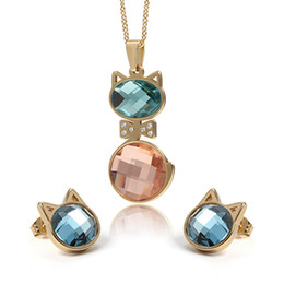Discount mix colors stones necklace - Charming Two Tone Lovely cat Stainless Steel CZ opals stone crystal Necklace Pendant & Earring Jewelry Set Fine Gift For
