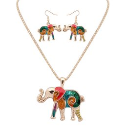 0339e79344ad NUEVA moda estilo punk 18KGP   925 plata realista Drip Rainbowful elefante  conjunto de joyas pendientes collar de aleación accesorios para mujeres
