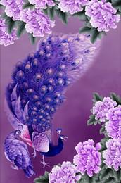 Crystal Diamond Fabrics Australia - Purple Peacock With Flower 5D Diamond Painting Round Rhinestone Crystal Stitch DIY Embroidery Craft Decorative Cross Stitch Kits 40*30cm