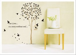 Bathroom Wall Sticker Quotes Canada - Black Forest Birds Tree Branch Wall Quote Decor Art Mural Home Decoration Stickers Removable Birds Sing on the Tree Wall Sticker Poster