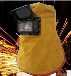 Solar auto darkening welding lenSeS online shopping - New Leather Welding Helmet Mask W Solar Auto Darkening Filter Lens Welder Hood