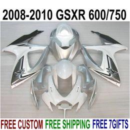 $enCountryForm.capitalKeyWord Australia - High quality ABS fairing kit for SUZUKI GSXR750 GSXR600 2008-2010 K8 K9 white black silver fairings set GSXR600 750 08 09 10 FA39