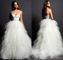 Robe De Spaghetti Eden Robe De Mariée Pas Cher-Eden Bridals Ball Gown Spaghetti Strap Crystal Layered Ruffles Court Train Tulle Princesse Robe de mariée 2016 Designer Wedding Dress DL1310592