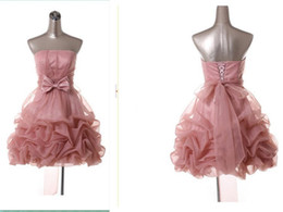 Barato Organza Drapeada-New Blush Pink Short Homecoming Vestidos Strapless Bow Sash Drapeado Organza Mini Prom Vestidos Lace up Voltar Custom Made H75
