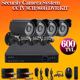 Dvr Video Security System Canada - free shipping,CCTV 8CH 960H DVR and 4pcs cctv indoor outdoor IR Camera whole video security Kit system, mobile remote monitor