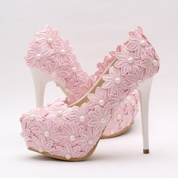 Bridesmaids slip dresses online shopping - 2016 Beautiful Pink Lace Flower Wedding Shoes Round Toe Women Formal Dress Shoes High Heel Bridesmaid Shoes Prom Party Pumps