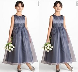 grey flower girl sash 2020 - Silver Grey Satin Junior Children Flower Girl Dresses With Organza A line Floor Length Cheap Wedding Kids Formal Gowns C