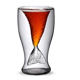 $enCountryForm.capitalKeyWord NZ - Individuality fashion Mermaid Creative cup transparent glass ice cream double beauty cup shark glass cup tool