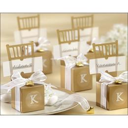 Großhandels100pcs Niedlich Gold / Silber Stuhl Wedding Favor-Süßigkeit-Kästen + Band-Hochzeit Paket Geschenk-Box Babypartybevorzugung Geschenkbox im Angebot