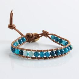 Wear Bracelet Australia - 2015 Hot Sale Handmade natural stone needle wear blue Fashion Jewelry Wholesale Leather I fire agate bracelet jewelry