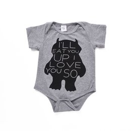 Barato Cópia Da Coruja Roupa-Hot Baby Boy Girl Grey Rompers Kids Short Sleeve Cotton Romper Letter Love U Então, Toddler Owl Printed Jumpsuit Casual Newborn Infant Clothes