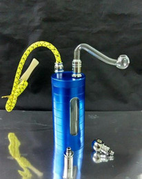 perspective glasses NZ - Hookah wholesale free shipping - Metal can perspective Hookah   bong, tobacco cigarettes 2-to-use, giving the glass pot, color random delive