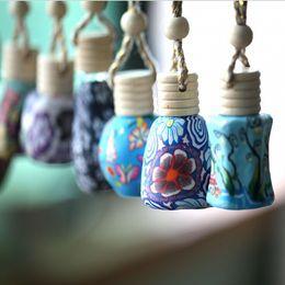 $enCountryForm.capitalKeyWord NZ - 15 ml Car hang decoration Ceramic essence oil Perfume bottle Hang rope empty bottle random colors styles
