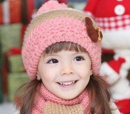 $enCountryForm.capitalKeyWord Canada - Children Wollen Hats Set For 2015 Winter Fashion Bear Girls Boys Caps + Scarf 2 Pcs Set Fit 1-7 Age 10 Pcs lot SS407