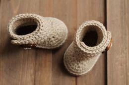 Handmade Newborn Baby Booties Canada - 2015 Newborn Handmade Knit High-top Tall Crochet Baby Boots Crochet Baby Booties Slipper 0-12M custom