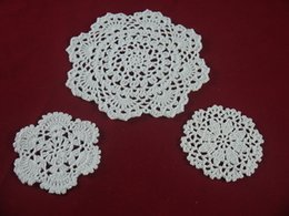 $enCountryForm.capitalKeyWord NZ - handmade Crocheted Doilies vase cup pad mat 3 Design, White lace Round coaster Home Weddings Doilies 10-20cm table doily 30PCS   LOT tmh345