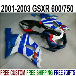 $enCountryForm.capitalKeyWord Australia - Top quality ABS fairings set for SUZUKI GSX-R600 GSX-R750 2001-2003 K1 black blue white fairing kit GSXR 600 750 01 02 03 SK55
