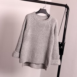 Korean Sweater Style Women Clothing Canada - Korean New Winter Women's Sweaters Thick Loose Coarse Needle All-match Sleeve Pullovers Sweater Students Female Wool Clothes