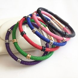 Watch spring bracelets online shopping - Beichong Charm bracelets Stainless steel Men Genuine Stingray Bracelet fit Brand Watch Men s Jewelry Gift Red Genuine Leather Bracelets