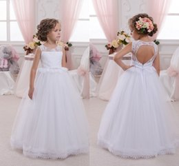 Discount girl tops 6t - 2018 White Long Flower Girls' Dresses Sheer Crew Neck Lace Top Christening Wedding Party Dress with Belt Open Back
