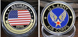 $enCountryForm.capitalKeyWord Canada - 2 pcs lot, The USA army air corps retired coins gold plated America force souvenir coin