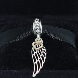 6867bb77d ... coupon code 925 sterling silver 14k real gold angel wing dangle charm  bead fits european pandora