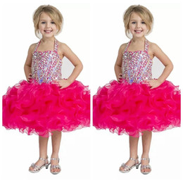 Robe Cupcake Baby Boy Girl Pas Cher-Halter Fuchsia Enfants Occasion Spéciale Pageant Cupcake Robes Perlé Cristal Tutu Ball Robes Tout-Petits Bébé Filles Ruffled Birthday Party Dress